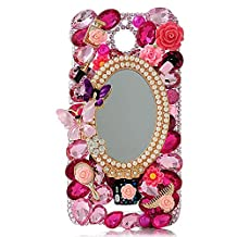 KAKA(TM) HTC case,HTC M9 Plus Case Creative Design Clear Case Bling Glitter with Mirror Butterfly Colorful Crystal Pearls Rhinestone