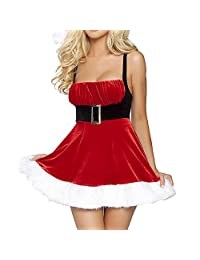 Christmas Xmas Ms Santa Claus Fancy Party Costume Red Dress Lingerie Chemises