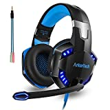 Gaming Headset PS4 Xbox One PC Headset Headphone with Mic Microphone for PS4 Playstation PC Xbox Nintendo Switch Games Over Ear Computer Mac Gamer Phone Stereo 3.5mm Noise Cancelling (Free Adapter)