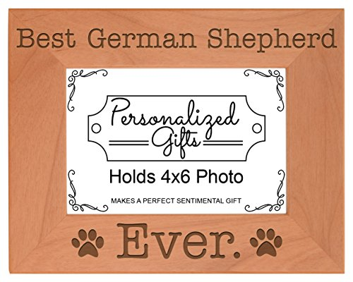 (ThisWear Dog Lover Gifts Best German Shepherd Ever Natural Wood Engraved 4x6 Landscape Picture Frame Wood)