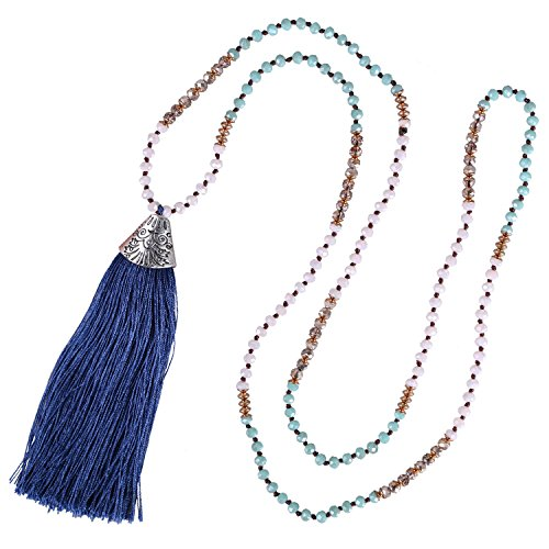 Fish Beaded Necklace (KELITCH Crystal Long Beaded Necklace Layering Fish Mouth Tassel Pendant Charm Necklace (Blue))