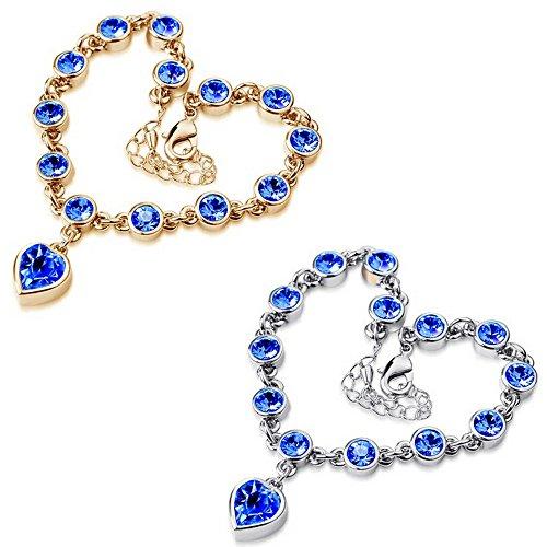- Power Ling CC 2 Pcs Blue Crystal Heart Shape Anklets Bracelets Adjustable