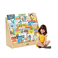 ECR4Kids Birch Hardwood Book Display Stand for Toddlers or Kids, Natural