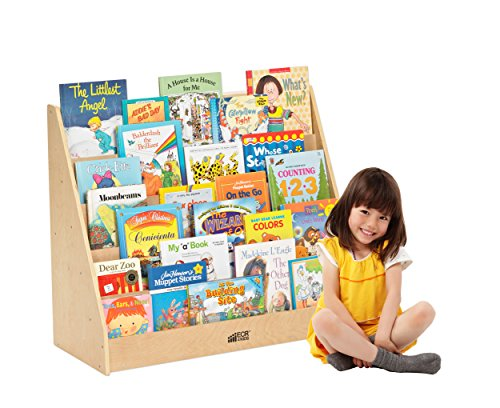 ECR4Kids Birch Hardwood Single-Sided Book Case Display Stand for Kids, 5 Shelves, Natural ()