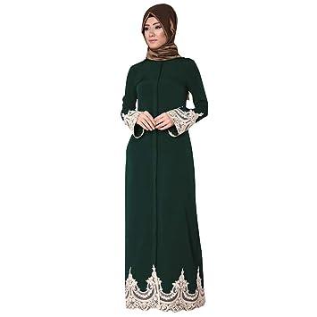 90a8d96fd7c6 Amazon.com: Muslim Middle Eastern Turkish Fashion Full Buckle Lace Robes  Long Sleeve Dress Tunic Gowns Kaftan Abaya Elegant Muslim Dress (XL,  Green): Beauty