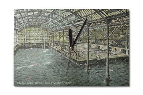 (San Francisco, California - Interior View of The Indoor Sutro Baths - Vintage Halftone (10x15 Wood Wall Clock, Decor Ready to Hang))