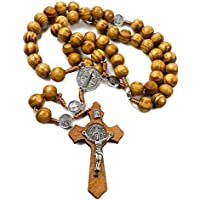 St Benedict Olive Wood Beads Rosary Necklace Catholic NR Saint Medal Handmade Jerusalem