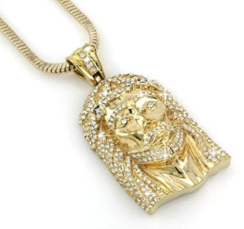 HIP HOP BLING Gold Tone ICED OUT JESUS FACE PENDANT (Iced Out Brass Knuckles)