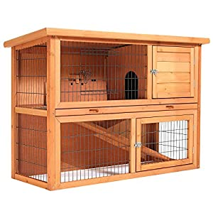 "SmithBuilt 48"" Two-Story Wooden Rabbit Hutch"