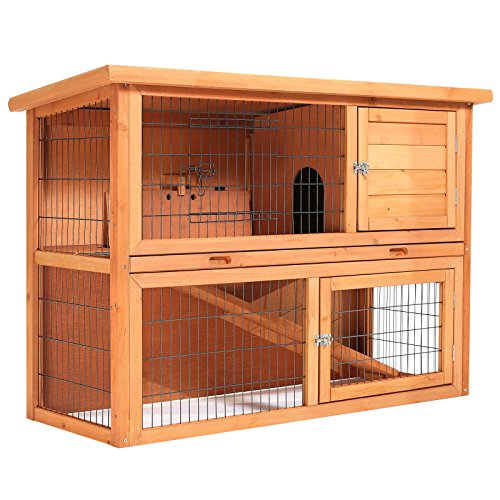 "51w9WYB%2BiXL - SmithBuilt 48"" Rabbit Hutch - Two Story Wood Bunny Cage"