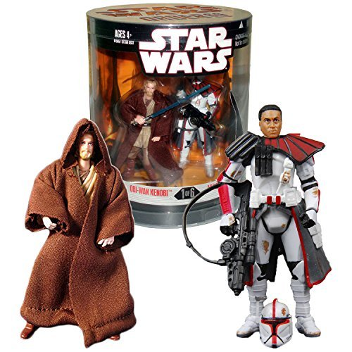 """Hasbro Year 2007 Star Wars """"Order 66"""" Exclusive Series 2 Pack 4 Inch Tall Action Figure Set #1 : OBI-WAN KENOBI with Blue Lightsaber and Jedi Robe Plus ARC TROOPER COMMANDER with Removable Helmet and Blaster Rifle"""