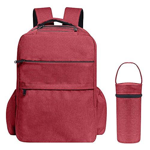 Bolsa de Pañales mochila, Gran Capacidad De Moda bebé bolsa de pañales para mamá/Papá, cambiador, correas para el carrito y bolsa de aislamiento botella incluye, funcional y resistente rojo Classic Re Classic Red