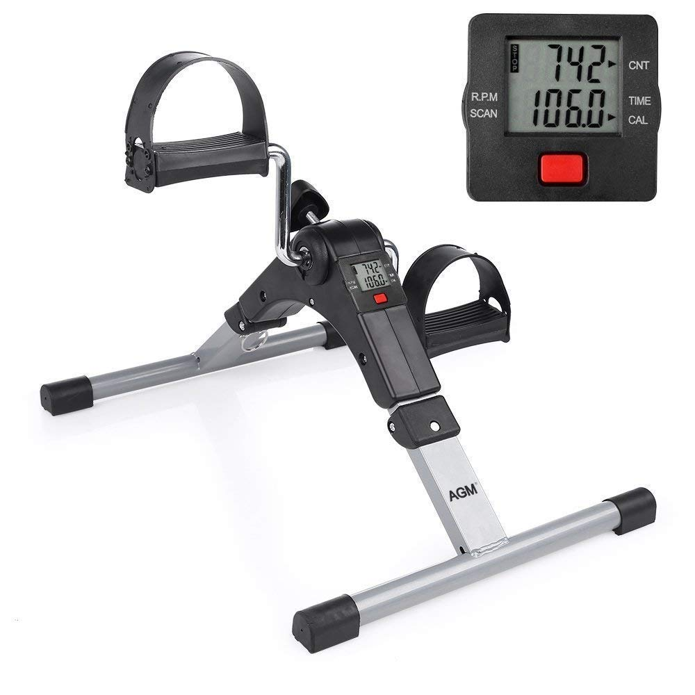 Folding Pedal Exerciser Mini Exercise Bike Arm and Leg Exercise Peddler Machine with Electronic Display by AGM