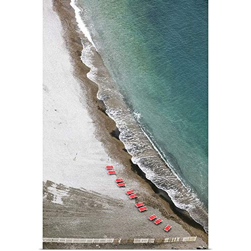 "GREATBIGCANVAS Poster Print Entitled Aerial View of The Beach, Castellammare di Stabia, Naples, Campania, Italy by 12""x18"""