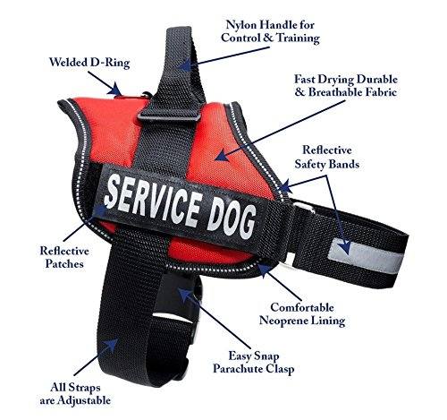 Service Dog Harness With Velcro Straps and Handle | Available In 7 Sizes From Extra Small to Extra Large | Vest Features Reflective Patch and Comfortable Mesh Design From Industrial Puppy (Emotional Service Dog Kit compare prices)