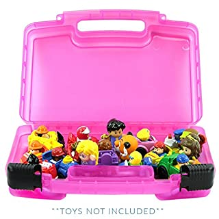 Life Made Better Little People Toy Storage Carrying Box, Mini Figure Organizer, Stores Figurines and Accessories, Pink