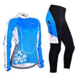 NUCKILY Women's Thermal Fleece Winter Cycling Jacket With Long Pants Suit