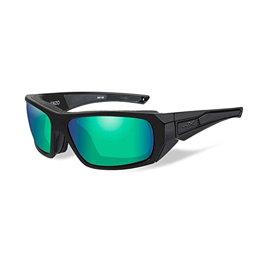 3bb22d073c Wiley X Enzo Sunglasses - Polarized Emerald Mirror Lens - Matte Bla.   CCENZ07