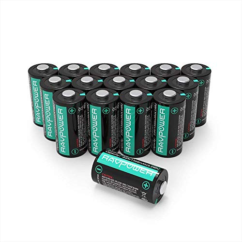 (Updated CR123A Lithium Batteries RAVPower Non-Rechargeable 3V Lithium Battery, 1500mAh Each, 16-Pack, 10 Years of Shelf Life for Polaroid, Microphones, Flashlight, Arlo Cameras [CAN NOT BE RECHARGED])