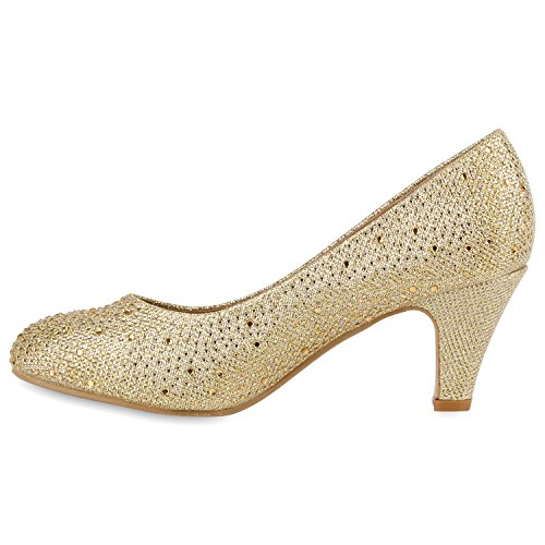 ca a Dorado de alta Pantuflas Mujer dorado Stiefelparadies xnFEOAawq