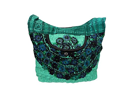 Guatemalan Shoulder Bag - Large Boho Embroidered Floral Stitch Casual Fashion Travel Natural Dyed Plaid Sling Zipper Purse Bag Crossbody Shoulder Strap (Teal/Green)