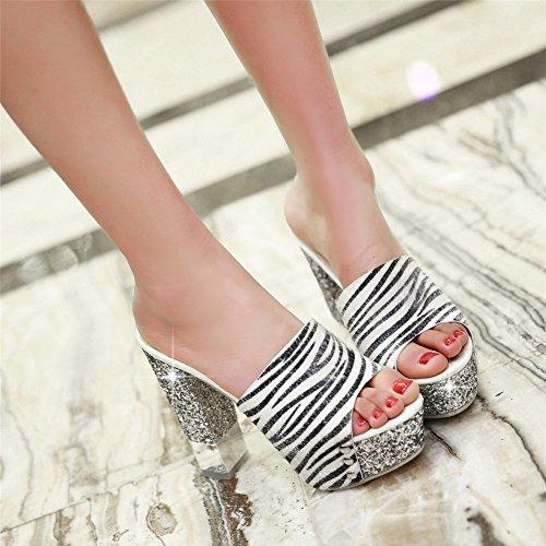 Summer White Women's Slippers Heel High Rivet MINIVOG Chunky qFdwXF0