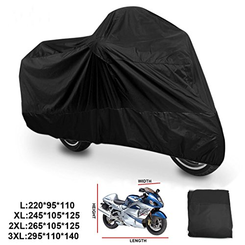 ANFTOP Motorcycle Cover 2XL Motorbike Scooter Cover Black Color White Lock Holes Waterproof UV Protective Cover XXL