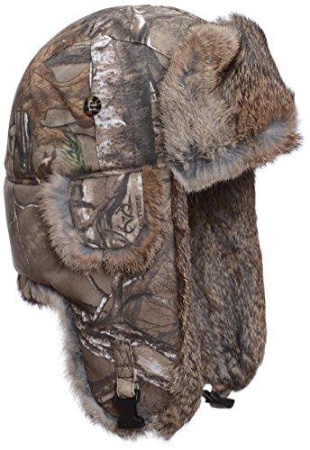 Mad Bomber Realtree Camo Canvas Aviator Pilot Bomber Hat Real Rabbit Fur Trapper Hunting Cap, Medium (Bomber Camo Hat Mad)