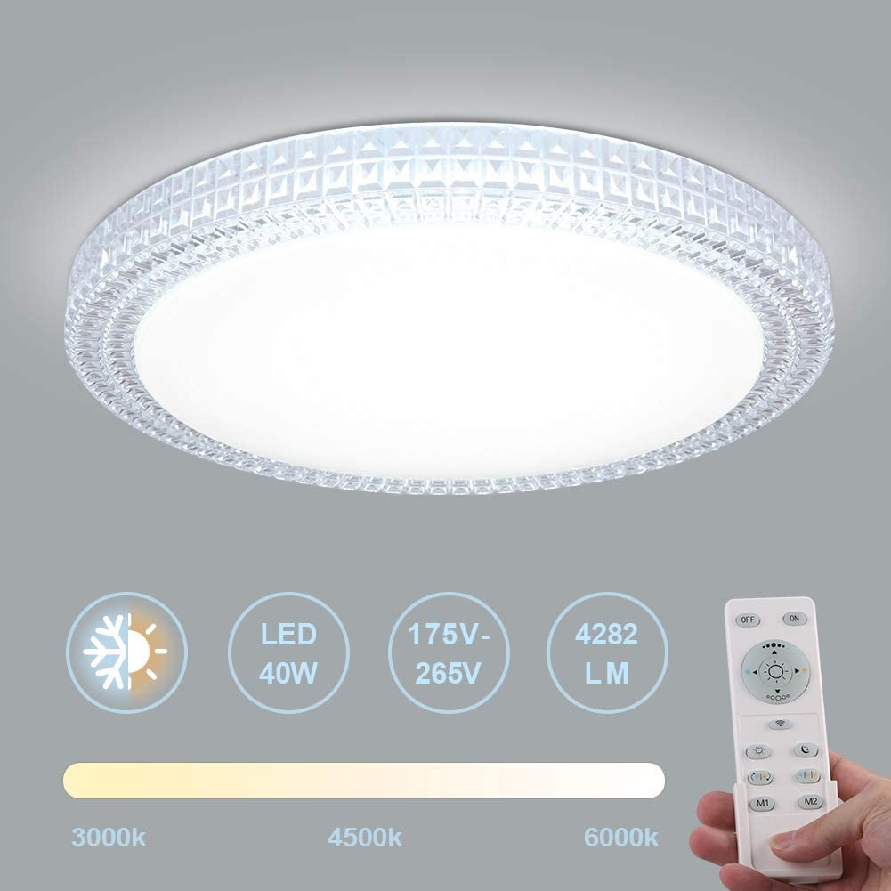 OOWOLF Lámpara De Techo Moderna, 40W 3000K-6000k Plafon Luz De Techo Regulable LED Lamparas De Dormitorio Sala De Estar Comedor Estudio Habitación Redondo Luz De Techo