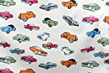 Vintage Car Printed White Colour 100% Cotton Fabric **FREE UK POST** Kids Children Nursery Early Learning Fun Craft Vintage Cars Boys Fabric Zoom Bunting Bed Sheet Cover Quilting Material Patchwork (1/2 Meter (50cm x 114cm))