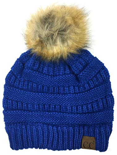 (Soft Stretch Cable Knit Ribbed Faux Fur Pom Pom Beanie Hat (Royal))