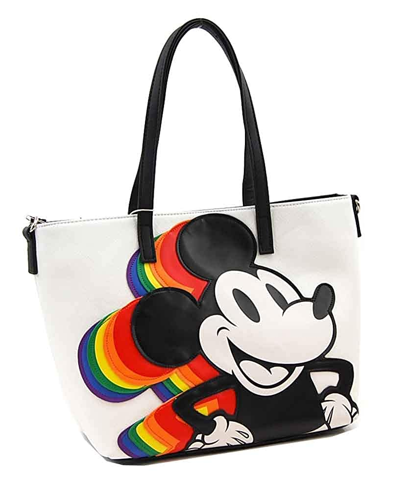 b33675a915b Amazon.com  Loungefly Disney Mickey Mouse Rainbow Faux Leather Tote Bag  with Shoulder Strap - WDTB1533  Shoes