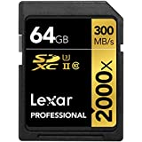 Lexar Professional 2000 x 64GB SDXC UHS-II/U3 (Up to 300MB/s Read) w/USB 3.0 Reader - LSD64GCRBNA2000R