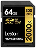 Lexar Professional 2000x 64GB SDXC UHS-II/U3 (Up to 300MB/s Read) w/USB 3.0...