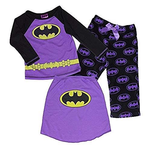 DC Comics Batman Batgirl Cape Pajama Sleepwear Set,Black/Purple,5]()