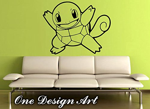 Sold by A Good Decals USA Squirtle Decal, Pokemon Vinyl Sticker, anime cartoon mural arts for interior children home decor kids inspiration vinyl ()