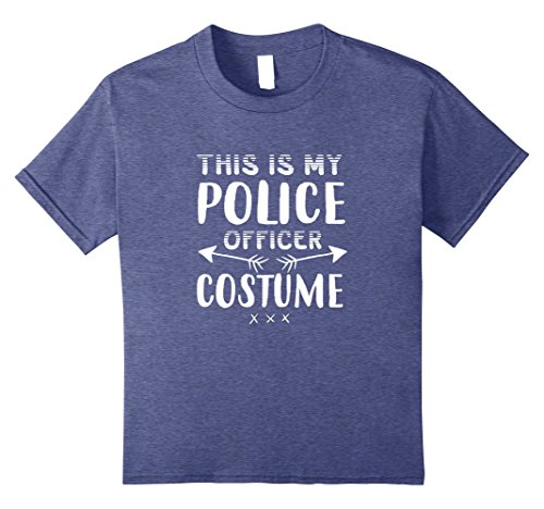 Kids Funny THIS IS MY POLICE OFFICER COSTUME Halloween T-Shirt 8 Heather - Ideas Mean Costume Girls