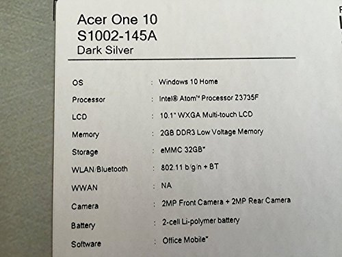 Acer One Tablet S1002-145A 2-IN-1 10.1 Intel Z3735F 1.33GHz 32GB WS 10