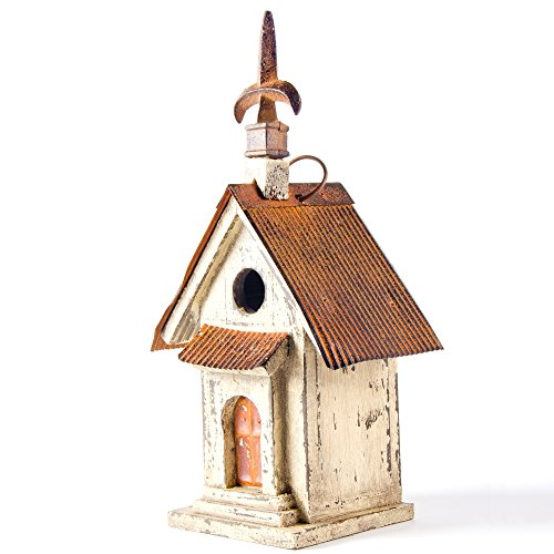 Glitzhome Tall Church Hand Painted Wood Birdhouse, 13.11