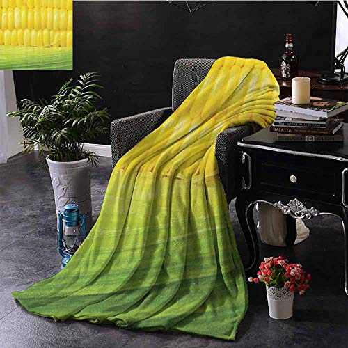SEMZUXCVO Yellow Decor Reversible Blanket Corn Cob Between Green Leaves Delicious Breakfast Natural Meal Vegetable Theme Art Fall Winter Spring Living Room Yellow Green W60 x L51 (Deer Corn On The Cob For Sale)