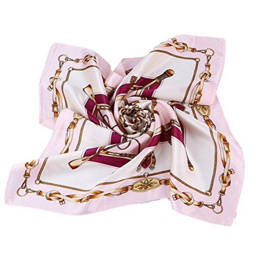 Grace Scarves 100% Silk Scarf, Petite Square, Charmeuse, Royal Equestrian, Pink/Purple
