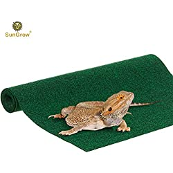 "Biodegradable Lizard Mat (1 pc) - Non Abrasive, Easy to Clean Reptile Bedding - Green, Multipurpose 1"" Thick Fabric Sheet - Substrate Liner Safe for Terrariums, Tanks, Home and Kitchen Use"