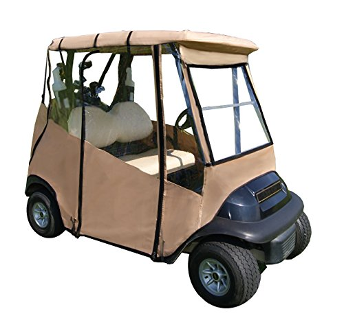 "Premium Golf Cart Cover – Portable & Drivable 4-Sided Black Golf Cart Cover – Club Car Rain Cover for Golfers, Small Towns & Parks – EZGO RXV, TXT, EZGO Golf Cart Cover (60"" L X 44"" W) - Tan"