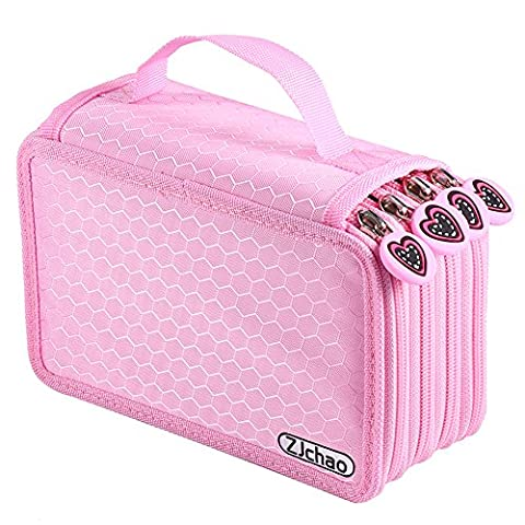 ZJchao 72 Count Slot Colored Pencil Carry Case Bag Large Capacity Oxford Multi-layer Pencil Organizer (4 Pezzo Stampato Inserire)