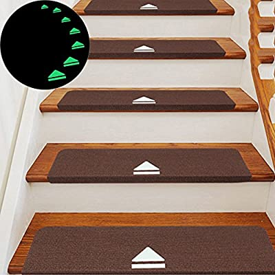 Dulci 5PCS/Set Carpet Stair Treads, No Adhesive Self-Adhesion Rubber Backing Carpet Stair Tread Mats, Non-Slip, Noise Reduction, Washable & Reusable, Luminous at Night (5 Pack, 21.6 x 8.7inch)