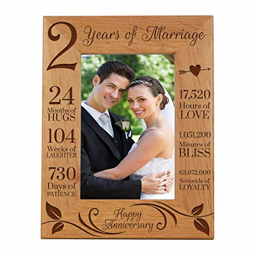 LifeSong Milestones 2nd Anniversary Picture Frame 2 Years of Marriage - Two Year Wedding Keepsake Gift for Parents Husband Wife him her Holds 4x6 Photo- Happy Anniversary (6.5x8.5)