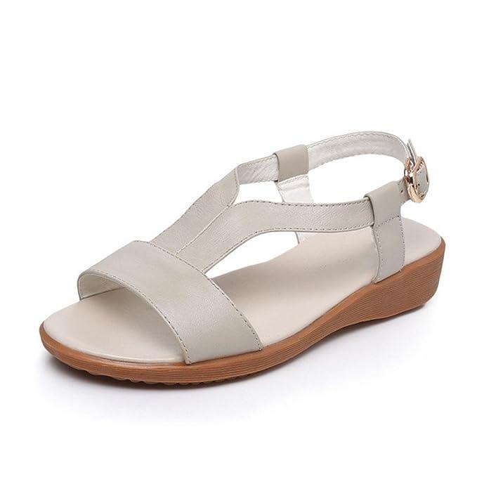 643129b78 sandalias de estilo palabra zapatos abiertos de las mujeres con zapatos  cómodos plano del ocio inferiores suaves salvajes  Amazon.es  Deportes y  aire libre