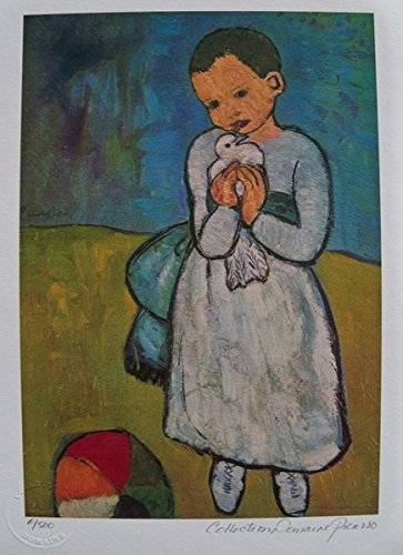 Artwork by Pablo Picasso After the Original Painting Small Child with Dove Pencil Signed on the Lower Right Paper Measures 12 inches x 9 inches Image Measures 11 inches x 7 inches