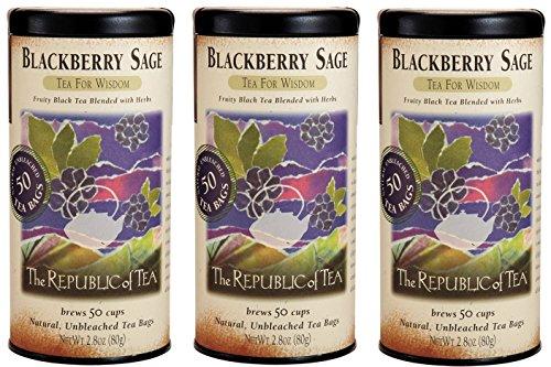 The Republic Of Tea Blackberry Sage Black Tea 50 Tea Bags- 3 Pack