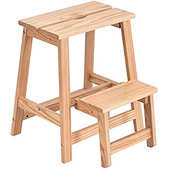 Giantex 2 Tier Solid Wood Step Stool Folding Ladder Bench Seat Kitchen Chair Furniture  sc 1 st  Amazon.com & Amazon.com: Cosco Retro Counter Chair/Step Stool with Lift-up Seat ... islam-shia.org